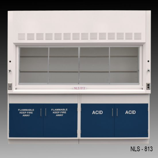 Front view of an 8 foot Fisher American fume hood with acid and flammable cabinets and one light on/off switch, one AC power plug