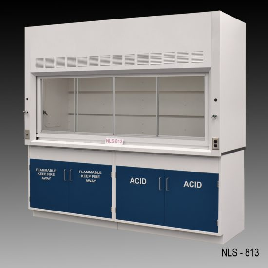 Front view of an 8 foot Fisher American fume hood with acid and flammable cabinets and 1 light on/off switch, 1 AC power plug