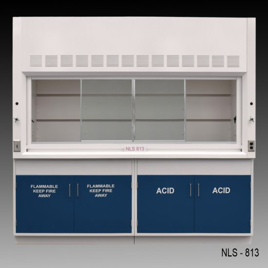Front view of an 8 foot Fisher American fume hood with acid and flammable cabinets and one cold water valve, one gas valve