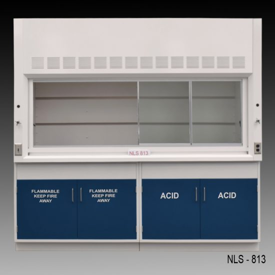 Front view of an 8 foot Fisher American fume hood with acid and flammable cabinets and 1 cold water valve, 1 gas valve