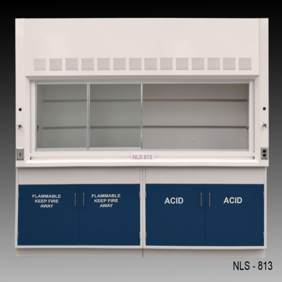 Front view of an 8 foot Fisher American fume hood with one acid cabinet and one flammable cabinet
