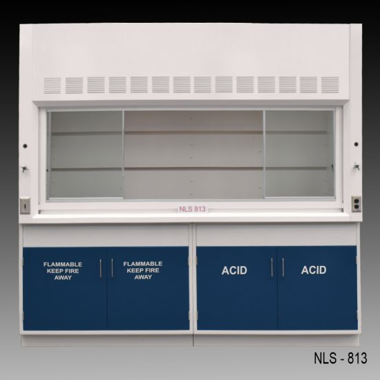 Front view of an 8 foot Fisher American fume hood with one vertical sliding sash door with four horizontal sliding glass windows