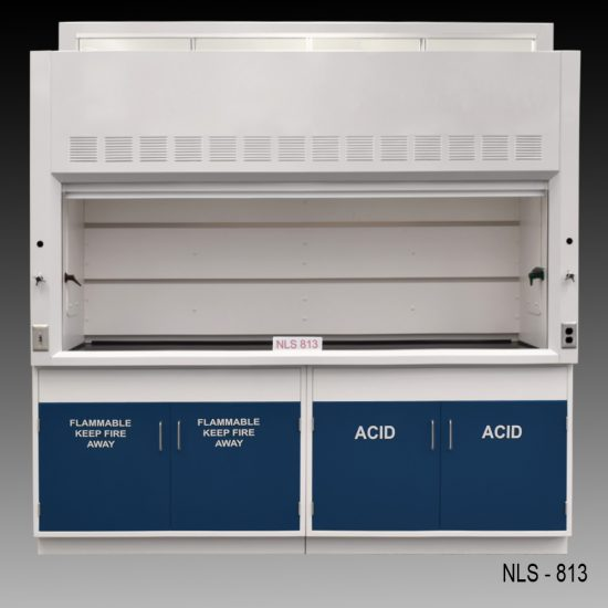 Front view of an 8 foot Fisher American fume hood with 1 vertical sliding sash door with 4 horizontal sliding glass windows