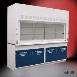 Front view of an 8 foot Fisher American fume hood with two flammable cabinets, one light on/off switch, one AC power plug